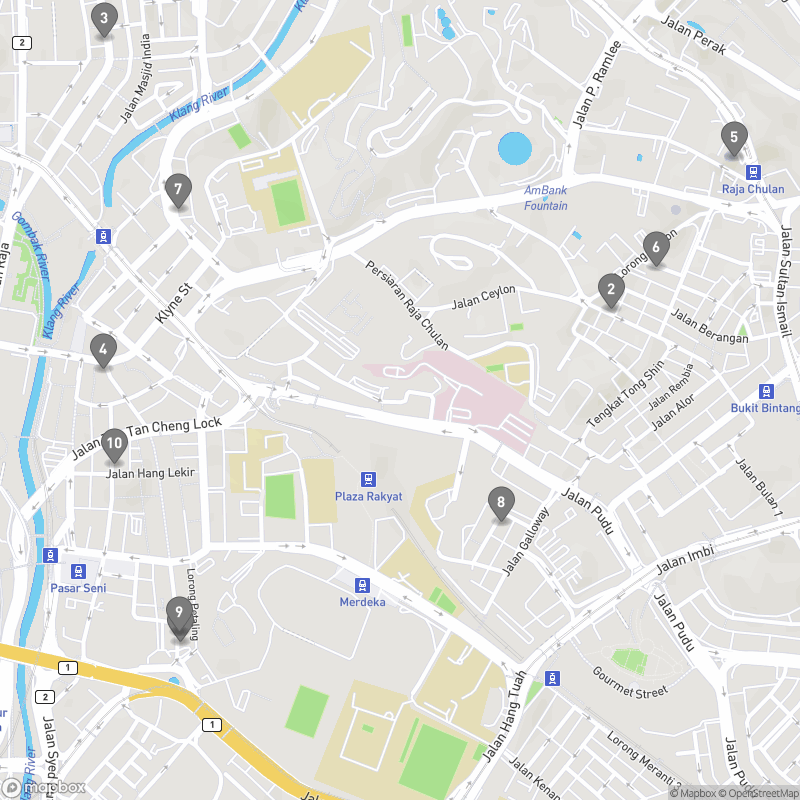 Map of eating options for Bars & nightlife