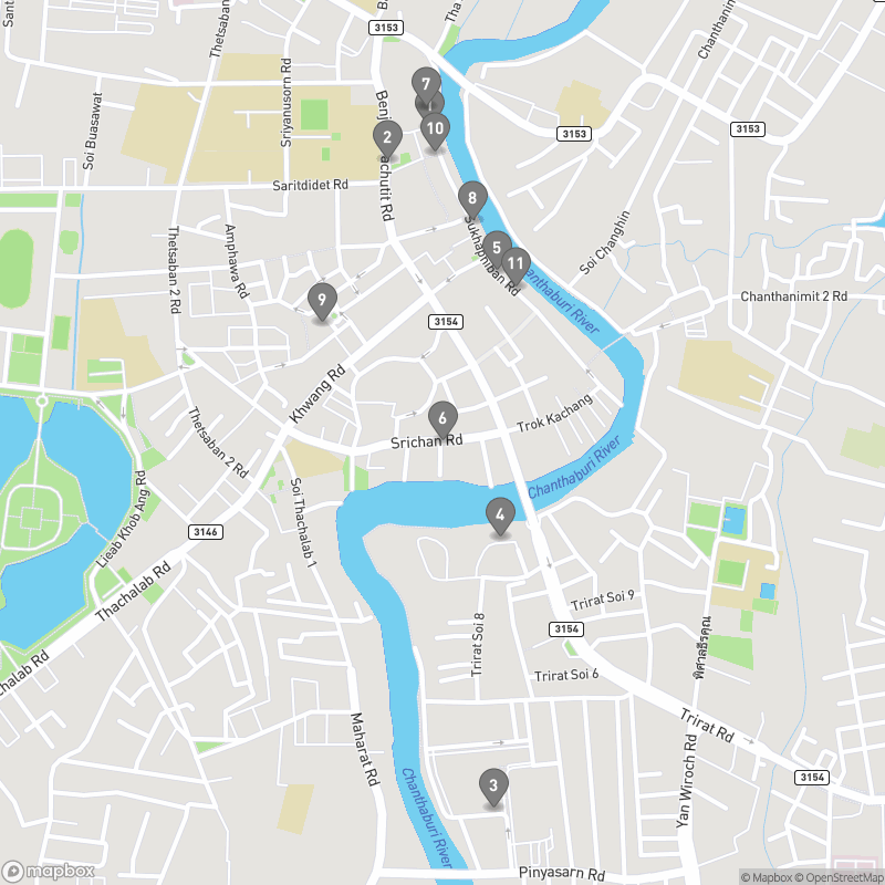 Map of eating options for Chanthaburi