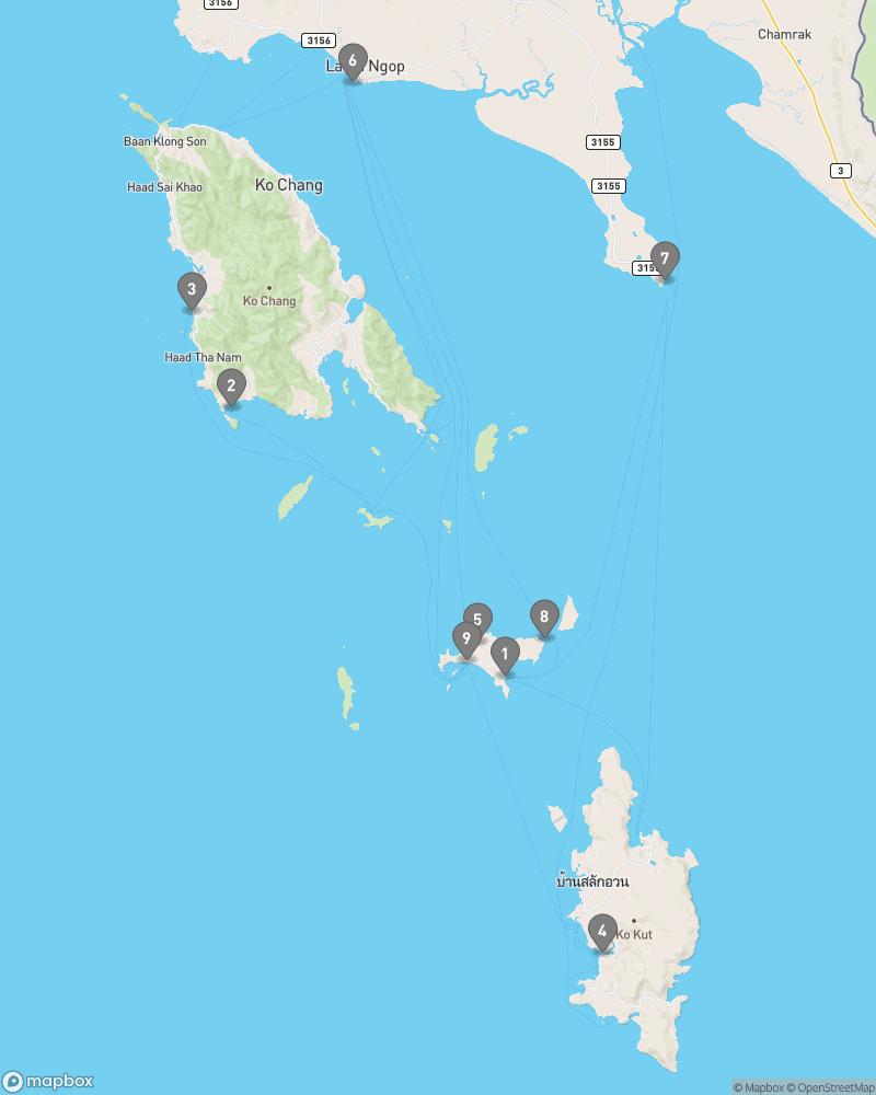 Map of eating options for Ko Mak