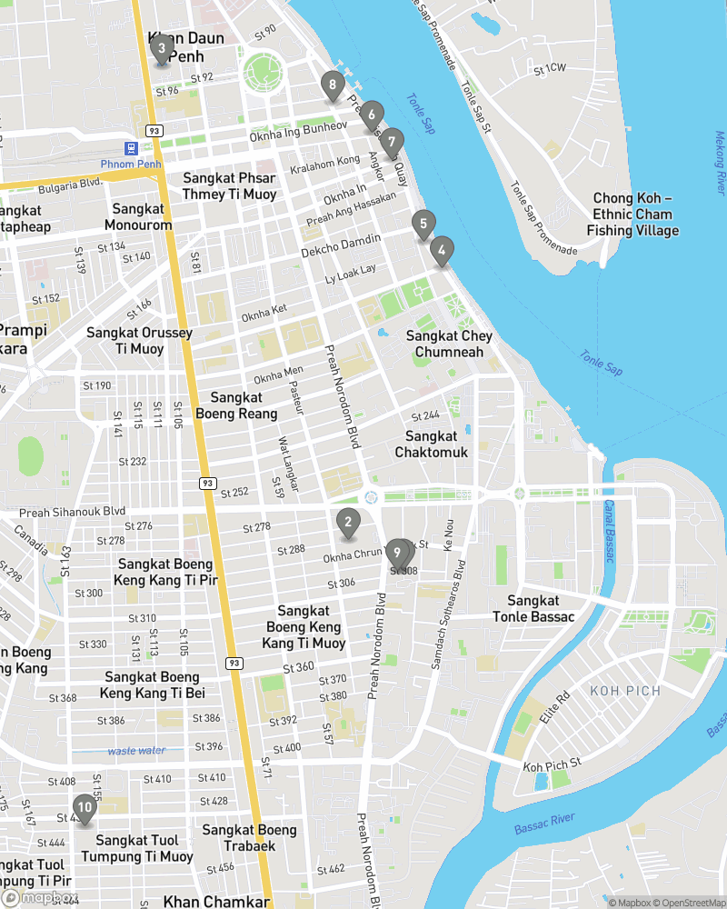 Map of eating options for Bars and entertainment