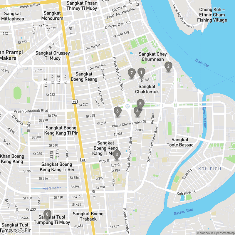 Map of eating options for Cafes and brunch