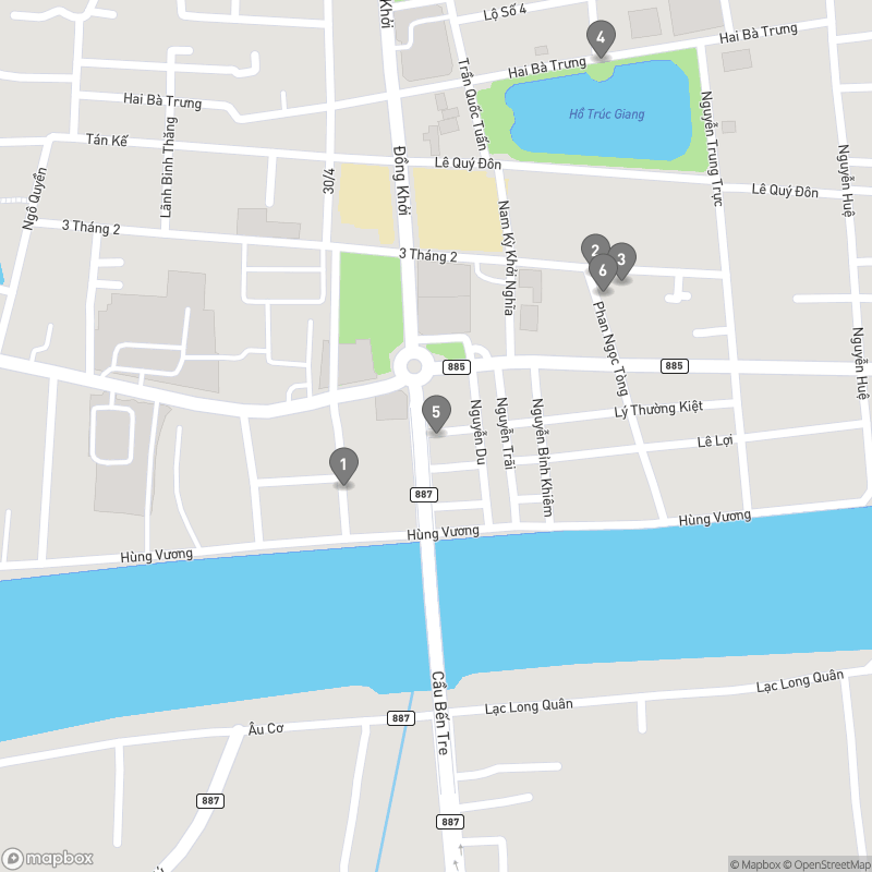 Map of eating options for Ben Tre