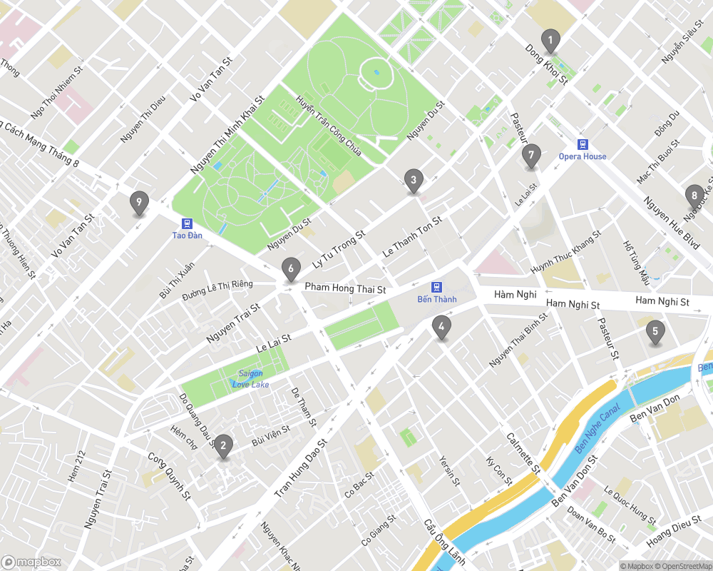 Map of eating options for Cafes