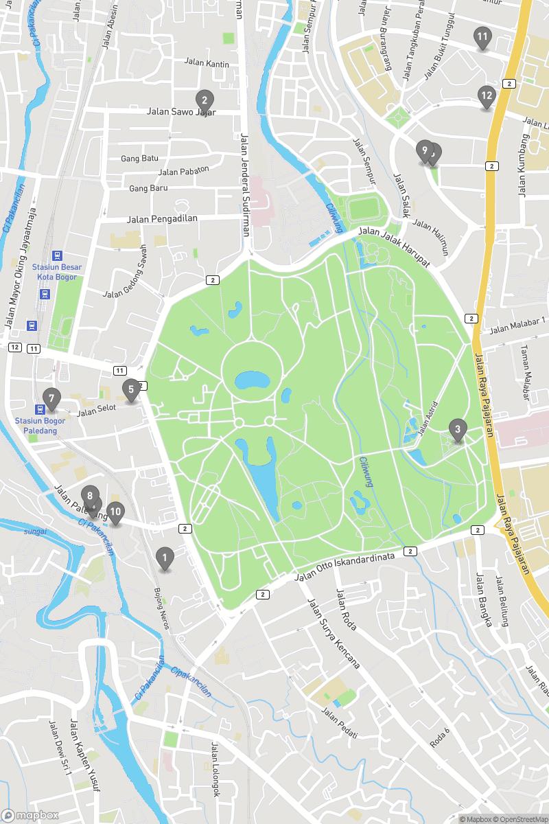 Map of eating options for Bogor