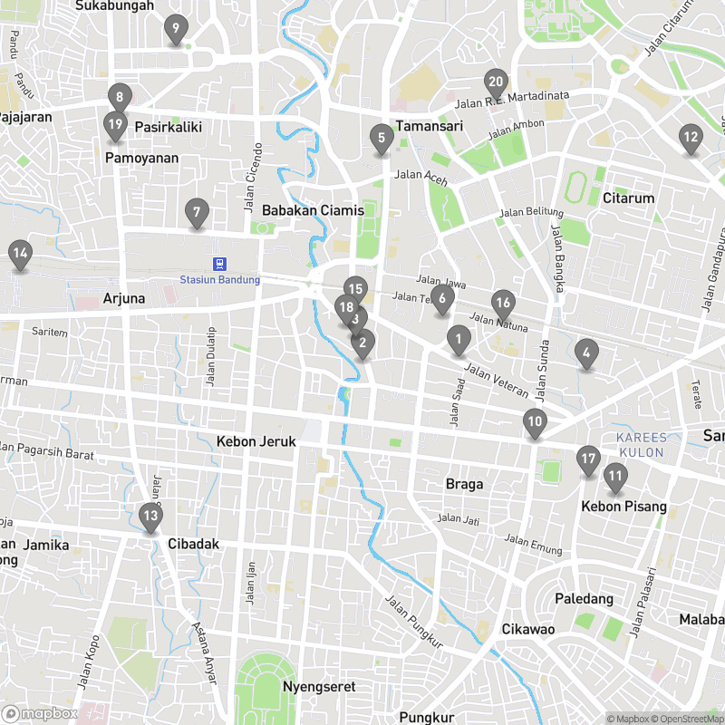 Map of eating options for Where to eat in Bandung