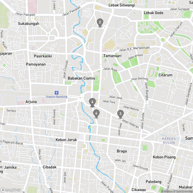 Map of eating options for Where to find a bar in Bandung