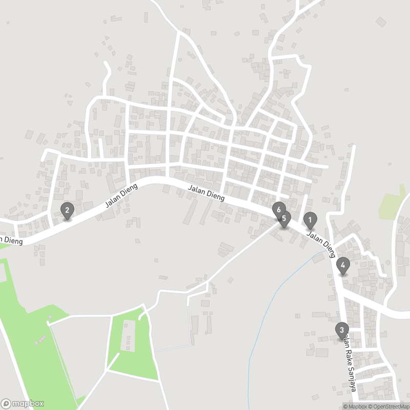 Map of eating options for Dieng