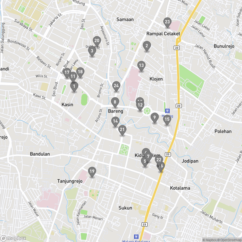 Map of eating options for Malang