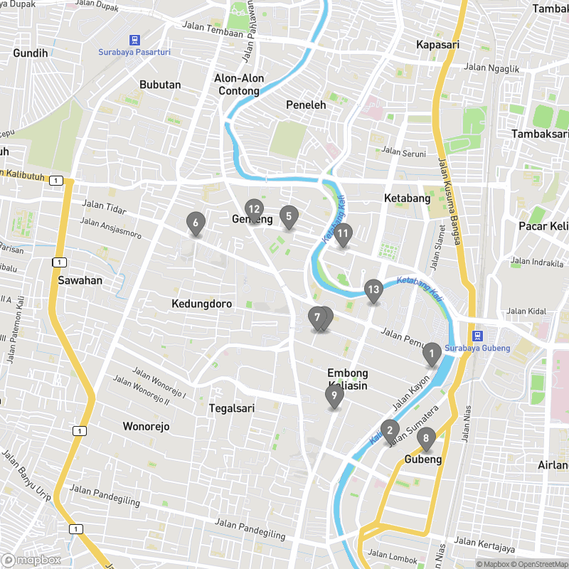 Map of eating options for Surabaya