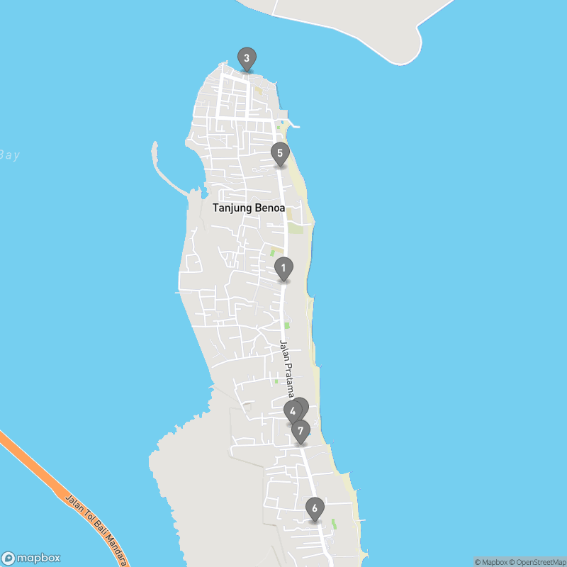 Map of eating options for Tanjung Benoa