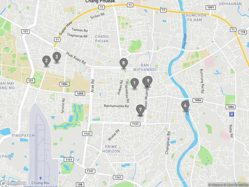 Map of eating options for Bars and nightlife