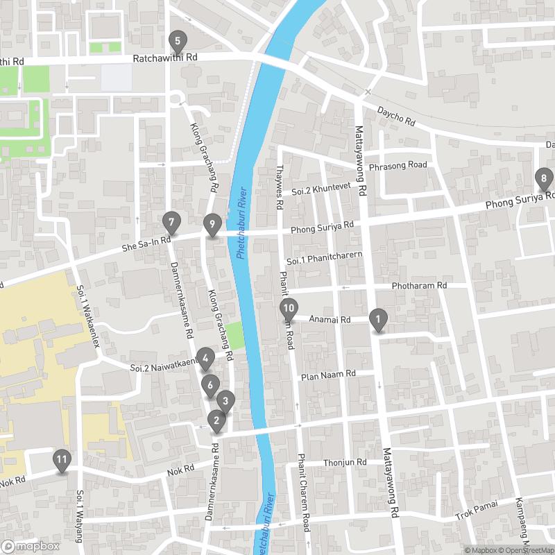 Map of eating options for Phetchaburi